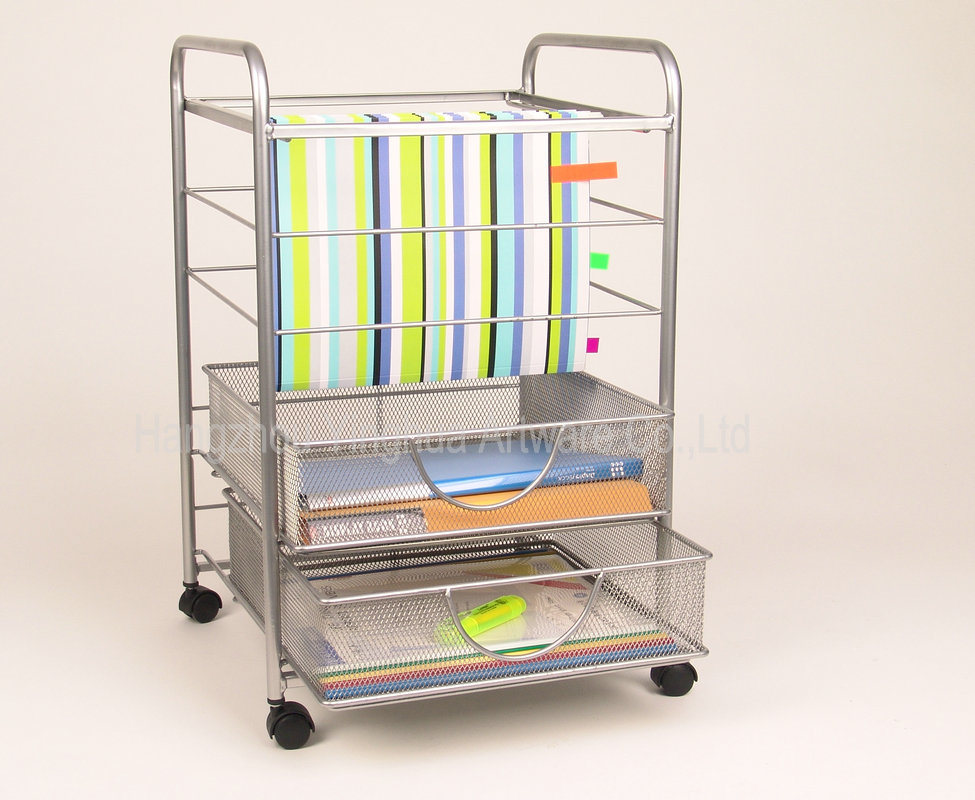 China mesh rolling file cart with drawers silver for Y h furniture trading