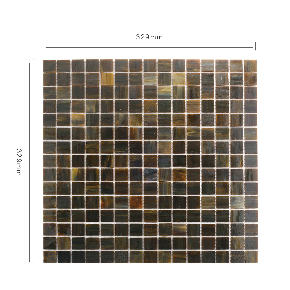 Eco-Friendly Material Black Bathrooms Square Glass Mosaic Tiles