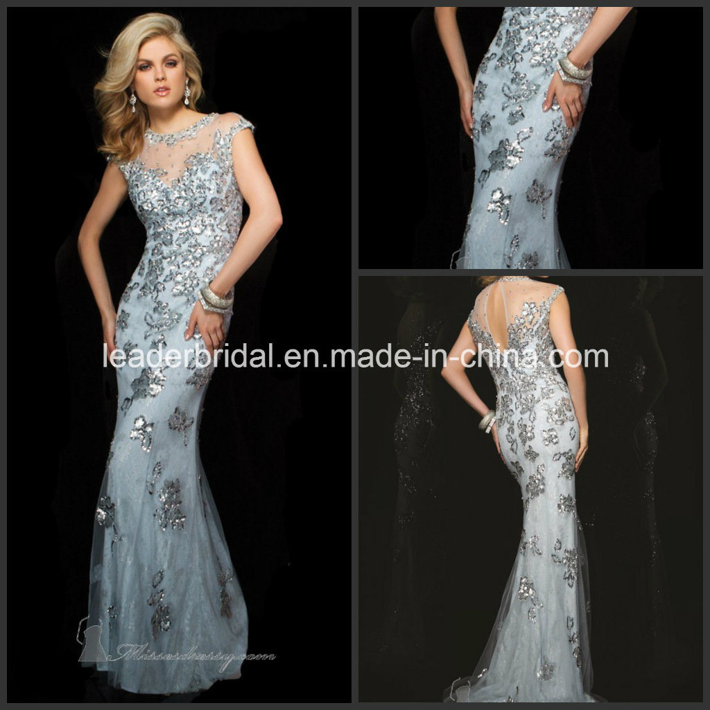 China 2015 Evening Dresses Sheath Sequins Pageant Prom