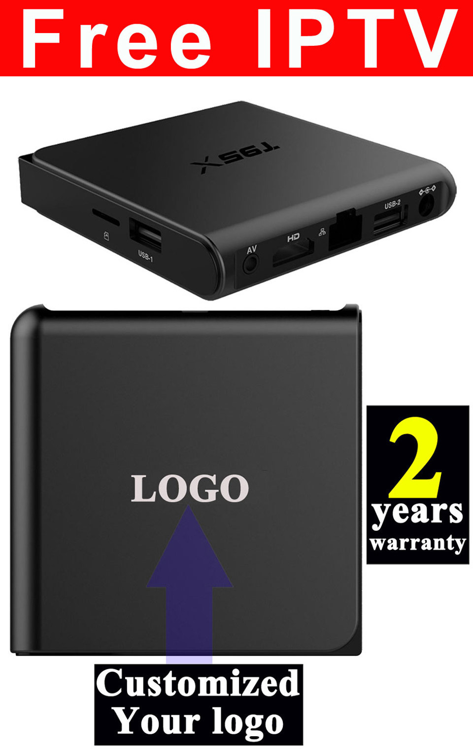 Custom Made Free IPTV Android6.0 Marshallow TV Box S905X Quad Core T95X-1GB/8GB