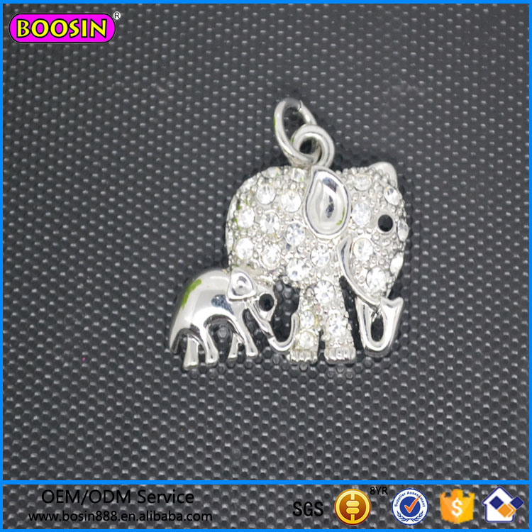 Mom and Son Elephant Crystal Pendant Jewelry From China #17105