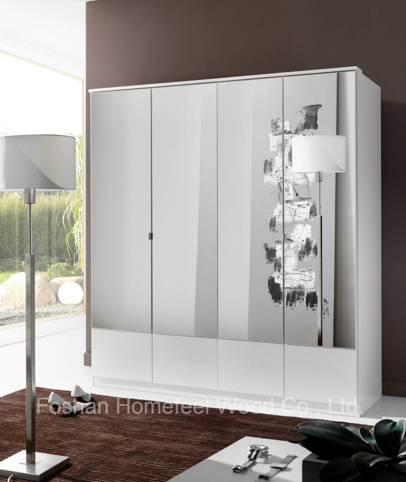 Pure White 4 Mirror Doors Wardrobe (HF-EY083)