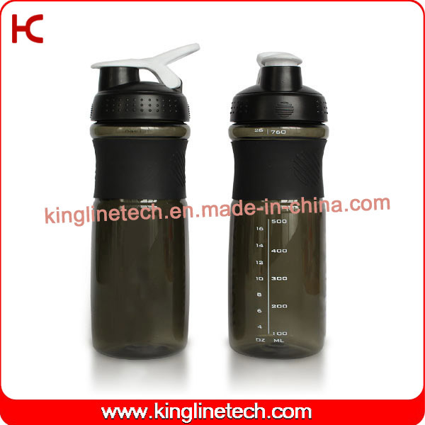 750ml Plastic Protein Water Bottle with Stainless Blender mixer Ball Manufacture(KL-7063)