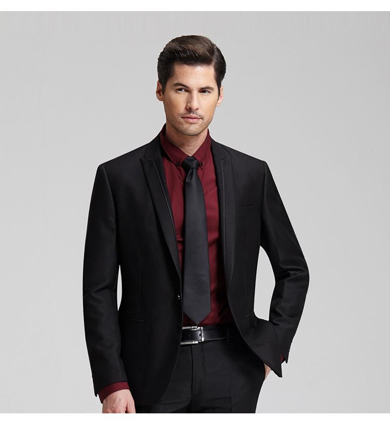 Mens Black Collarless Shirt