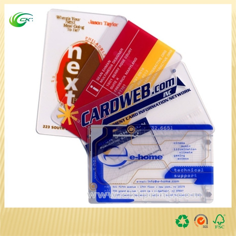 Printed Plastic Clear Business Scratch Gift Cards (CKT- PC-215)