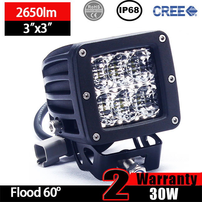 LED Driving Lights Cube 30W (3X3X3inch, 2600lm, IP68 Waterproof)