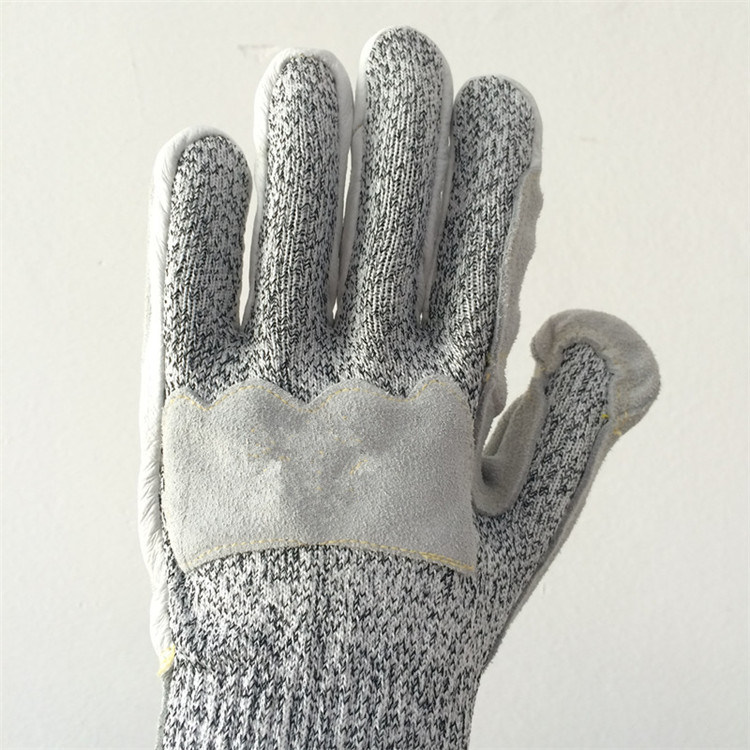Hppe/Glass Fiber Safety Gloves with Cowhide+Pigskin Sewing, Cut5
