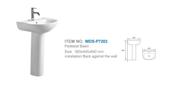 Weidansi Ceramic Wash Pedestal Basin Wash Sink (WDS-P7203)