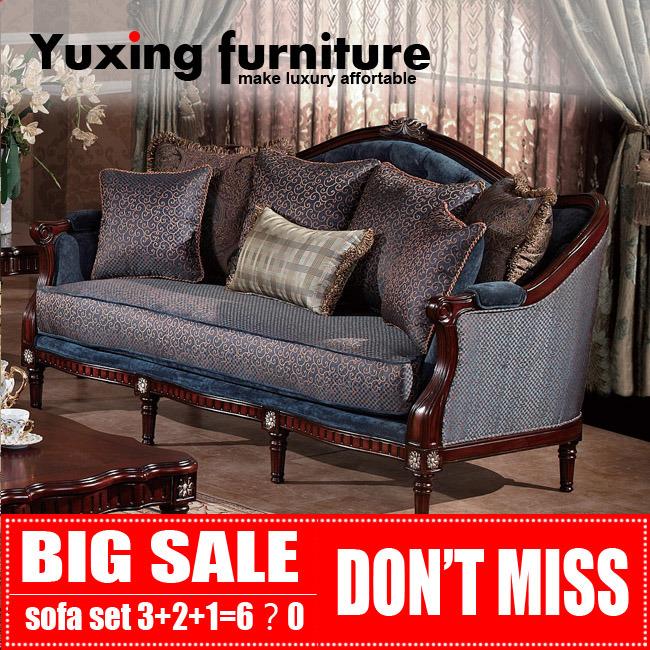Classical Fabric Sofa for Living Room Antique Home Furniture Set