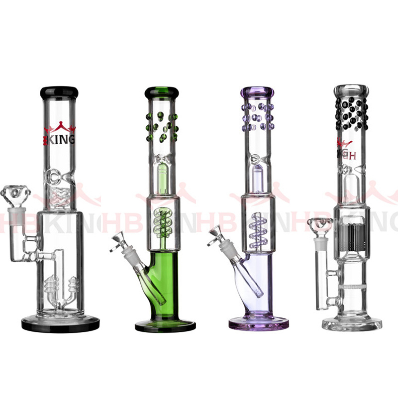Hbking 10inch 5mm Thickness Classic Beaker Base Colorful Glass Bowl Glass Water Pipe Smoking Water Pipe Glass Smoking Pipe with Ice Pinches
