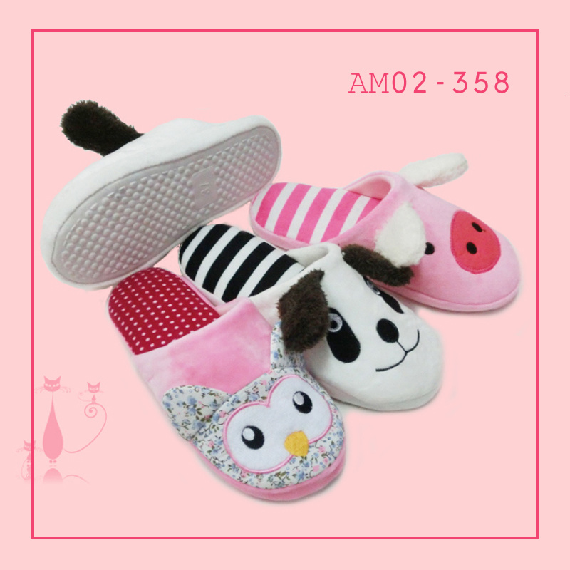 Winter Warm Beautiful Indoor Bedroom Plush Animal Slippers TPR