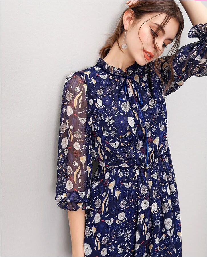 Ladies Fairy 3/4 Sleeve Printed Fashion Elegant Dress