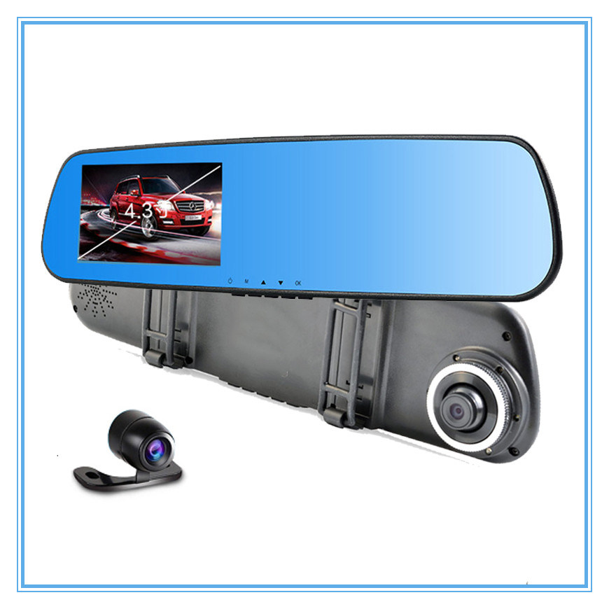 1080P Dual Lens Car DVR Camera with 6 LED Lights