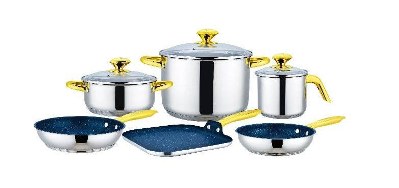 9 PCS Cookware Set with Square Plate with Aluminum