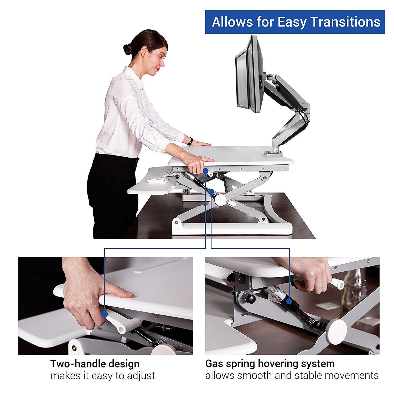 """Loctek 27"""" Wide Platform Height Adjustable Standing Desk Riser, Sit-Stand Workstation, Black (MT101S)"""