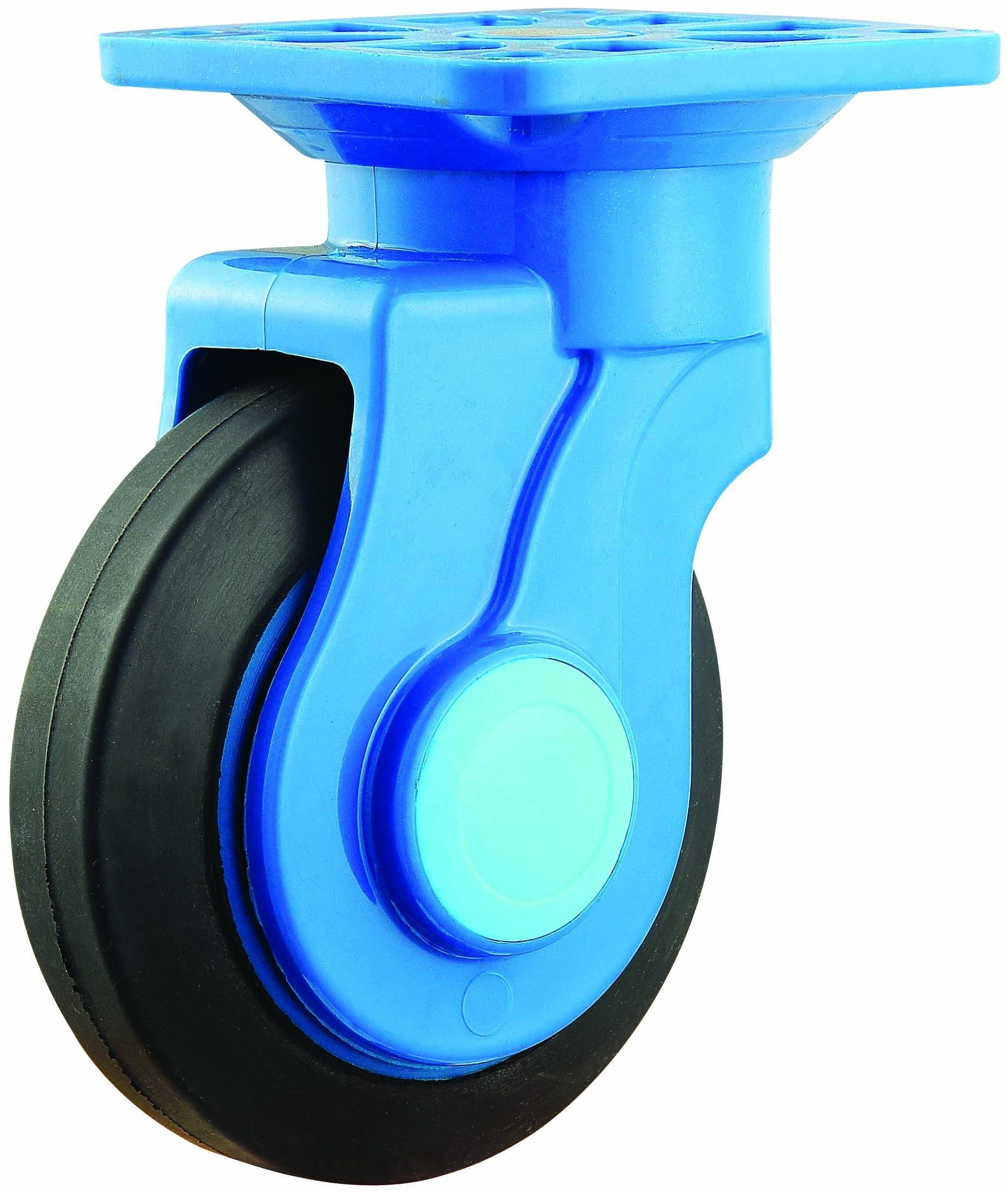 4/5 Inch Elastic Rubber Noiseless Trolley Castor with Nylon Bracket