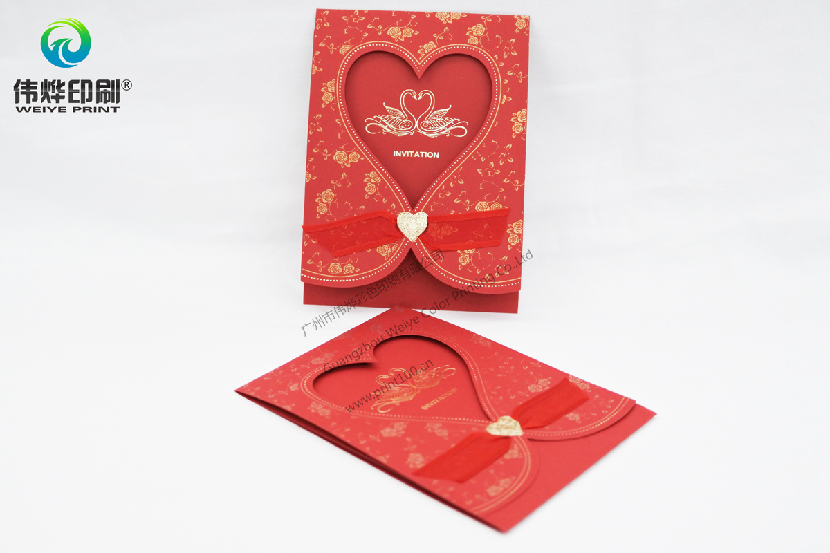 Gold Stamping Paper Printing Wedding Card (heart)