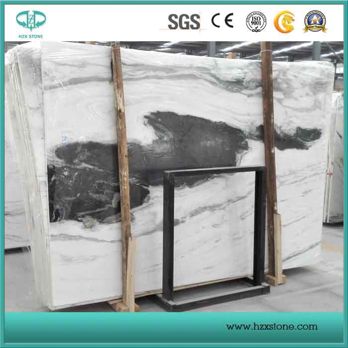 Book Matched Panda White Marble Slab for Countertop, White & Black Marble for Flooring and Wall