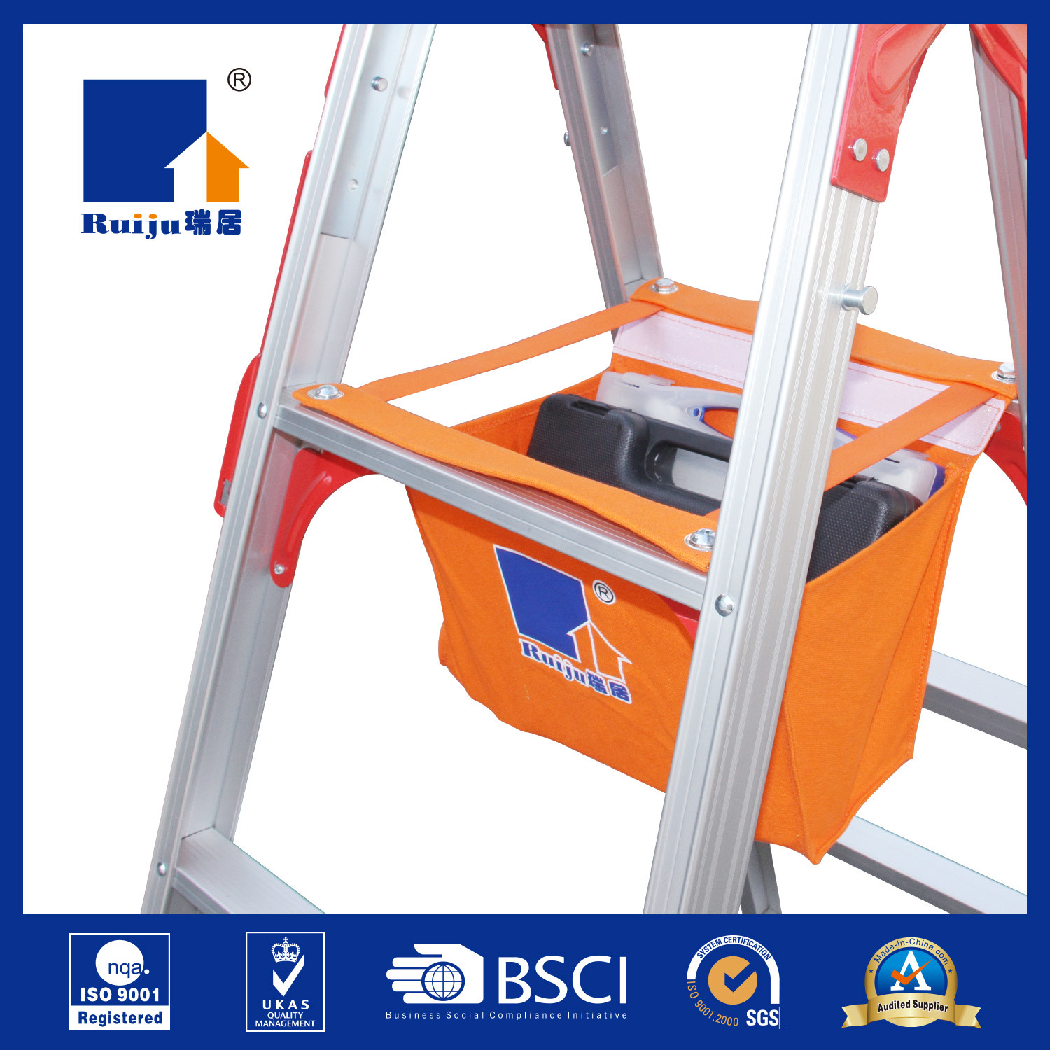 Aluminium Two-Way Ladder with Tool Bag