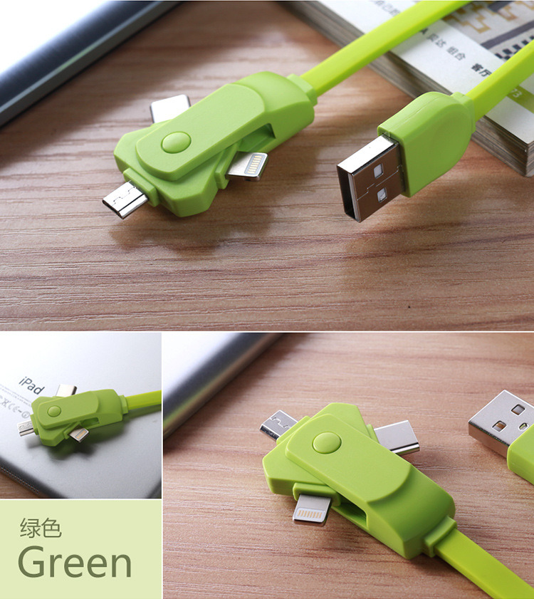 Rotating 3in1 USB Charging Cable for iPhone Android Type-C Smartphones