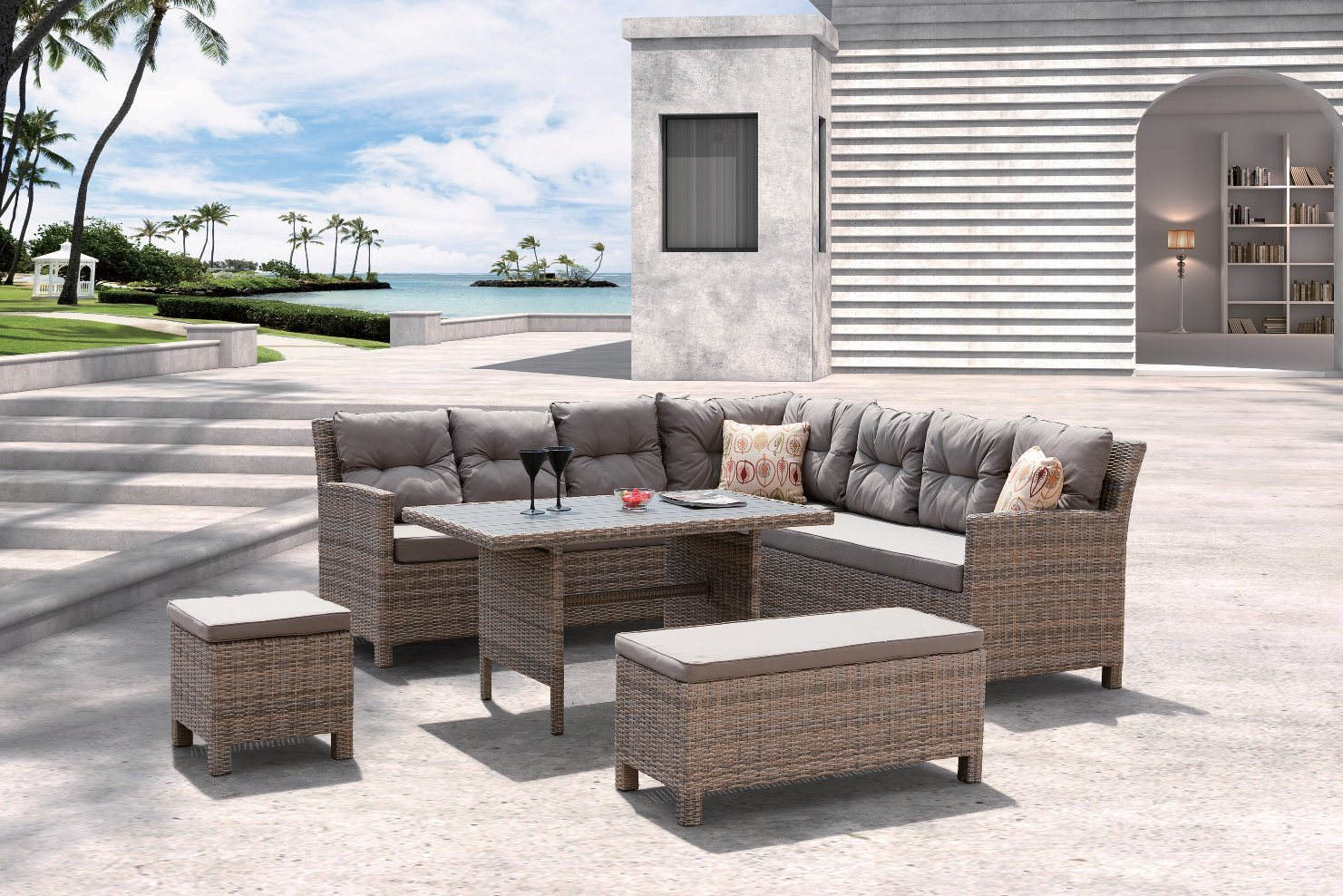 Garden Patio Barbados Lounge Home Hotel Office Restaurant Outdoor Sofa (J620)