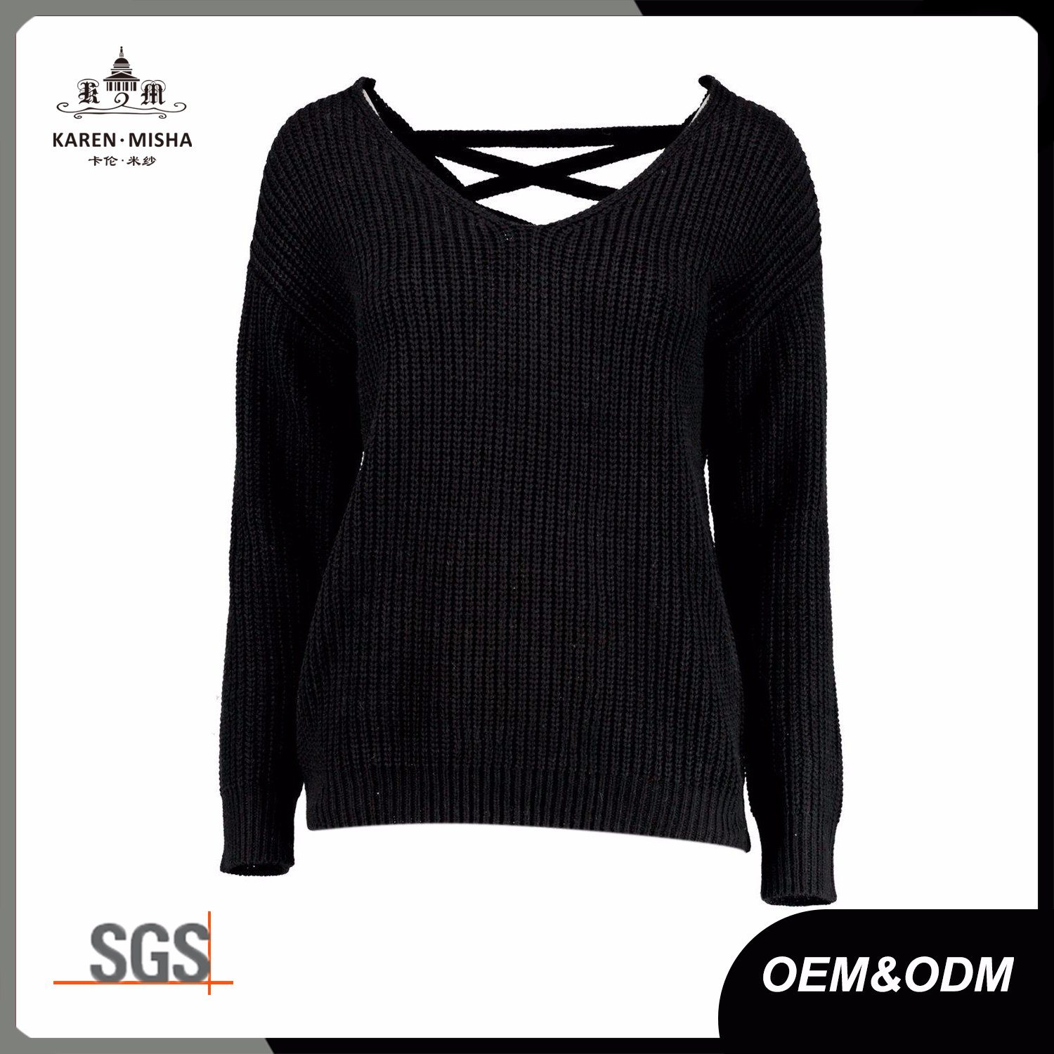 V Neck Ribbed Lace up Back Pullover Sweater for Women