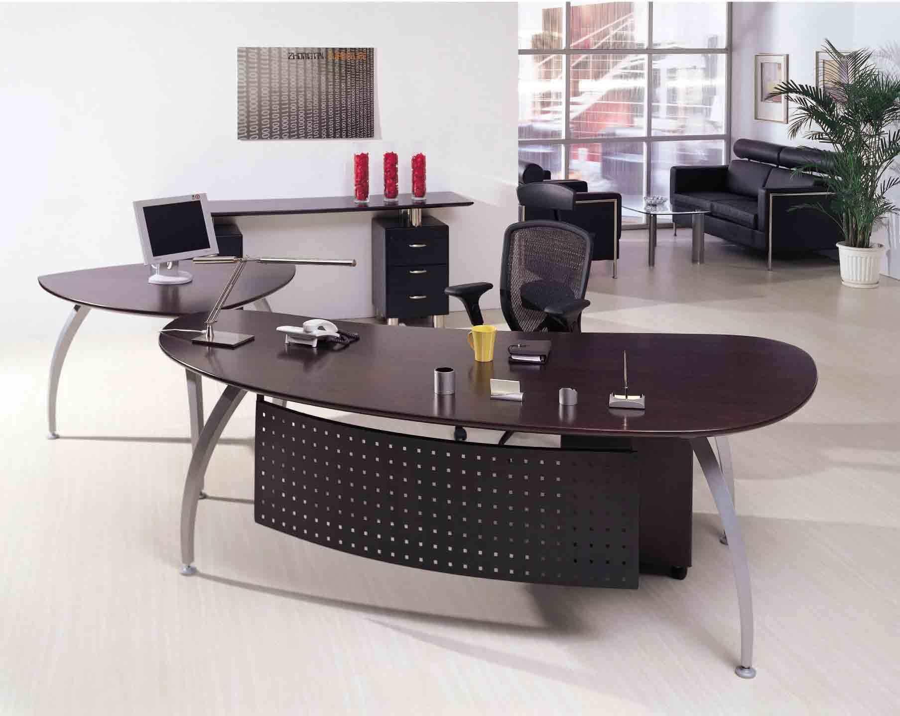 Modern Office Furniture U Shape Brown Executive Office Desk (NS-ND024)