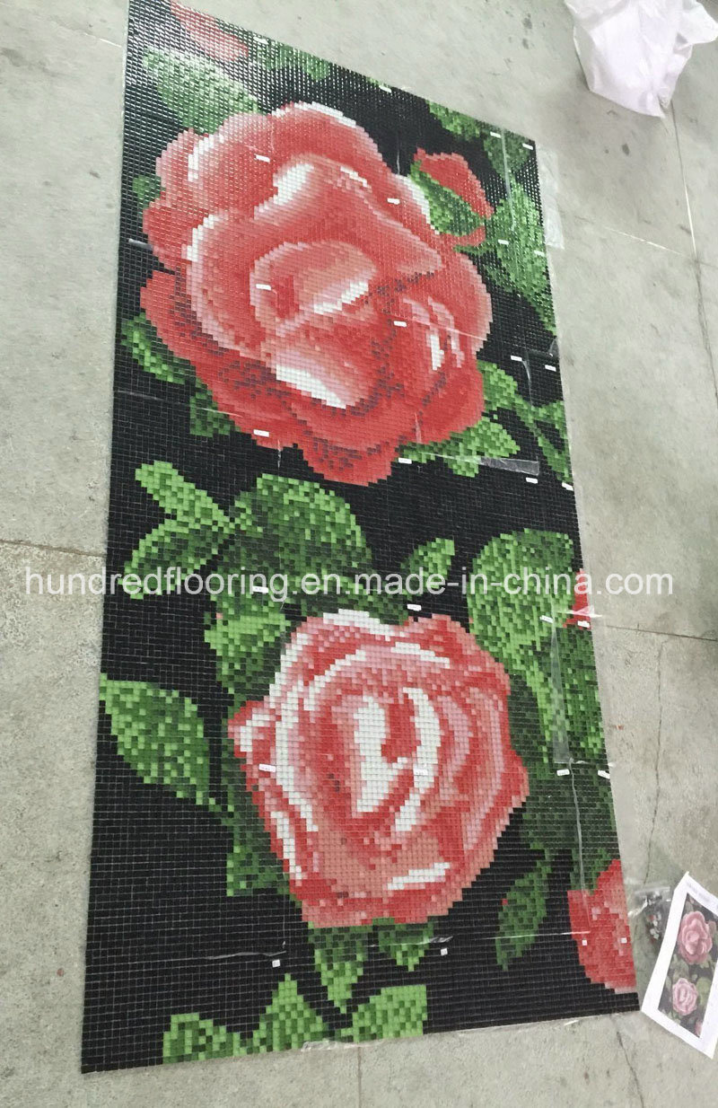 Rose Flower Pattern Glass Mosaic Pattern Wall Tile (HMP643)