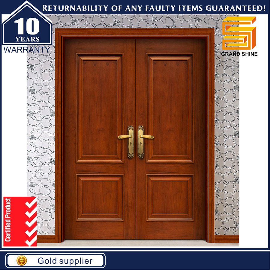 China exterior double panel design solid wood veneer for Double door wooden door