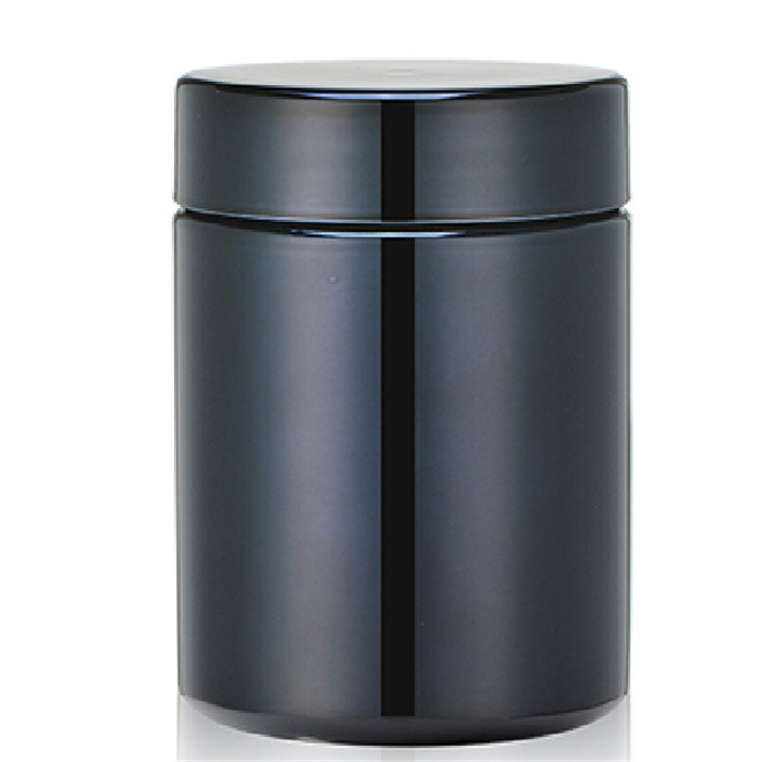 8oz 250ml Black Chromed/ Metallized HDPE Plastic Jar