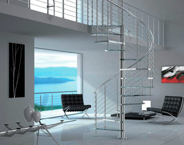 DIY Glass Spiral Staircase Stainless Steel Frame Glass Steps Without Risers