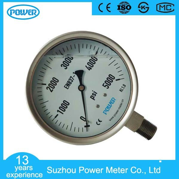 100mm Full Stainless Steel Wika Type Dry Pressure Gauge Manometer