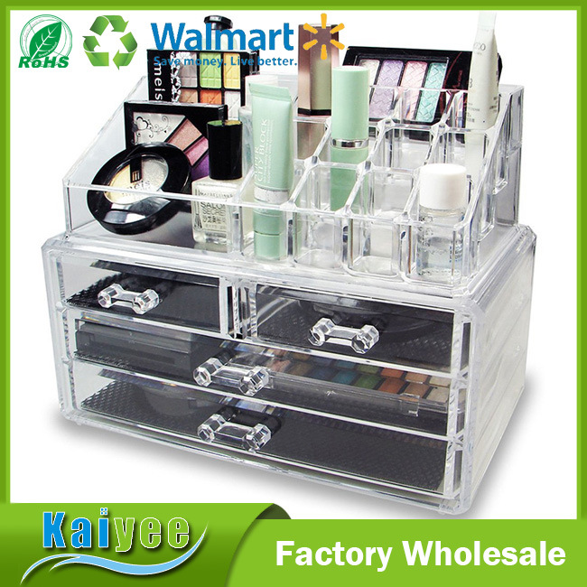 Wholesale Acrylic 3 Layer Jewelry & Makeup Organizer with Drawers