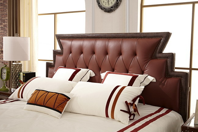 China Shunde Furniture Soft Leather Bed with Headboard Designs Jbl2016