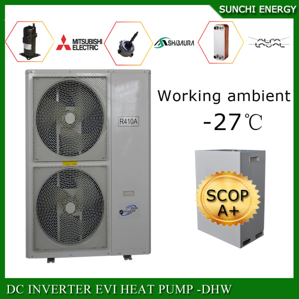 Amb. -25c Winter Floor Heating 100~350sq Meter Room 12kw/19kw/35kw Condensor Indoor Split Higher Cop China Heat Pump Evi