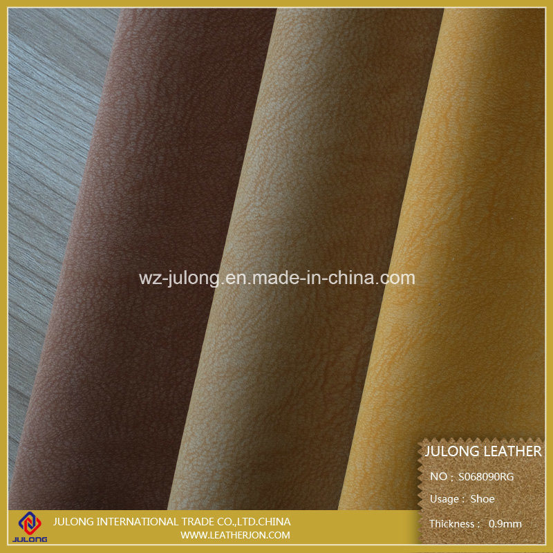 Environmental Protection Flocking Artificial Shoe Leather & Imitation & Upholstery Leather (S068)