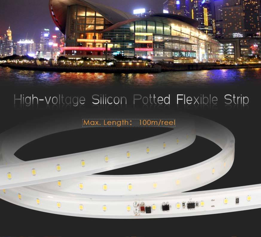 High-Voltage 2835 PU Glue Potted Flexible LED Strip Lighting 50 Meters with Ce RoHS