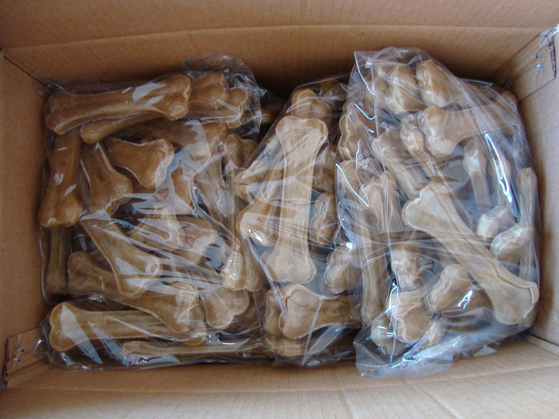 """Dog Chew Natural Rawhide Pressed Bone (6.5"""")"""