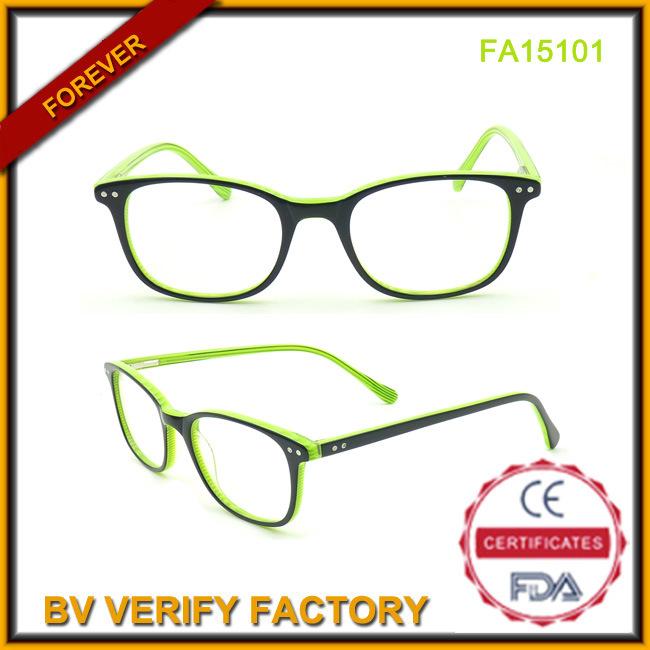 Wholesale Acetate Frame Glasses Green Color Frames (FA15101)