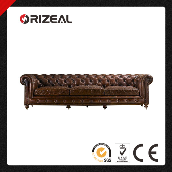 Orizeal Chesterfield Style Kensington Genuine Leather Sofa with Gentlemen′s Club Tradition (OZ-LS-2029)