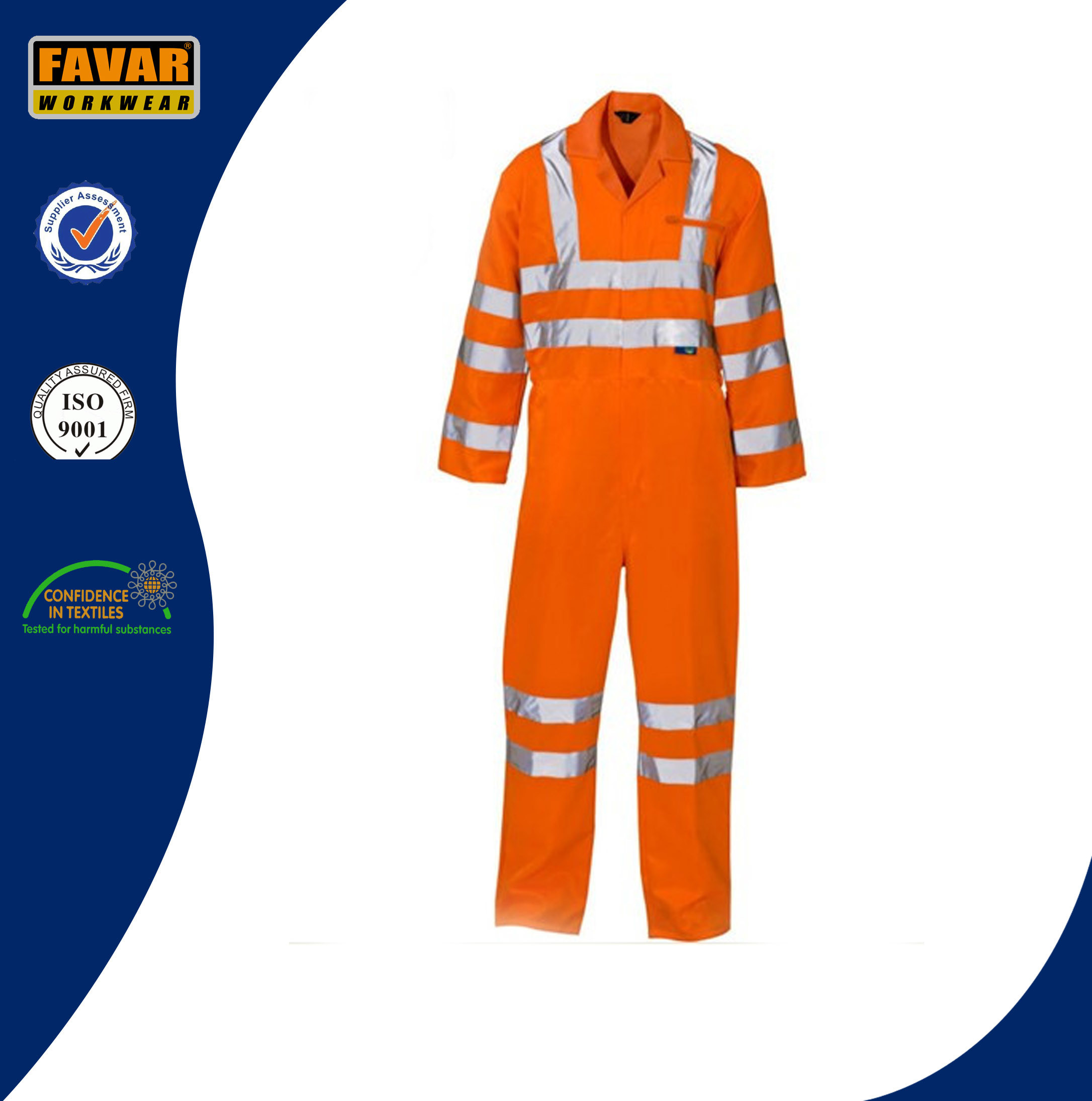 Yellow Safety Waterproof 300d Oxford High Visibility Reflective Tape Rain Coverall
