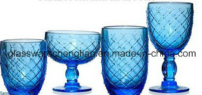 Embossed Colorful Glass Cup (B-C015)