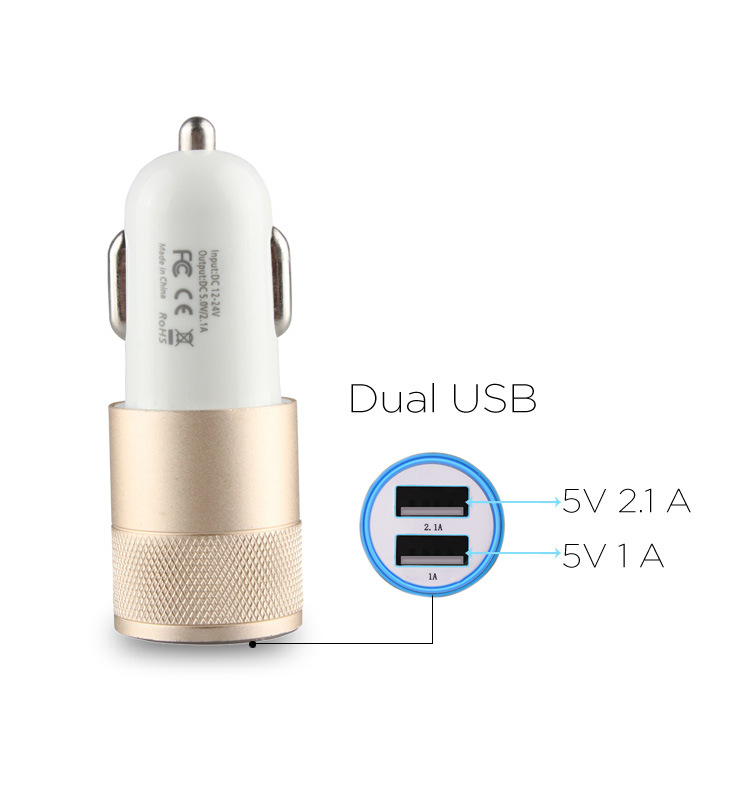 Cheap Wholesale Colorful Micro Dual USB Car Charger Portable USB Phone Charger