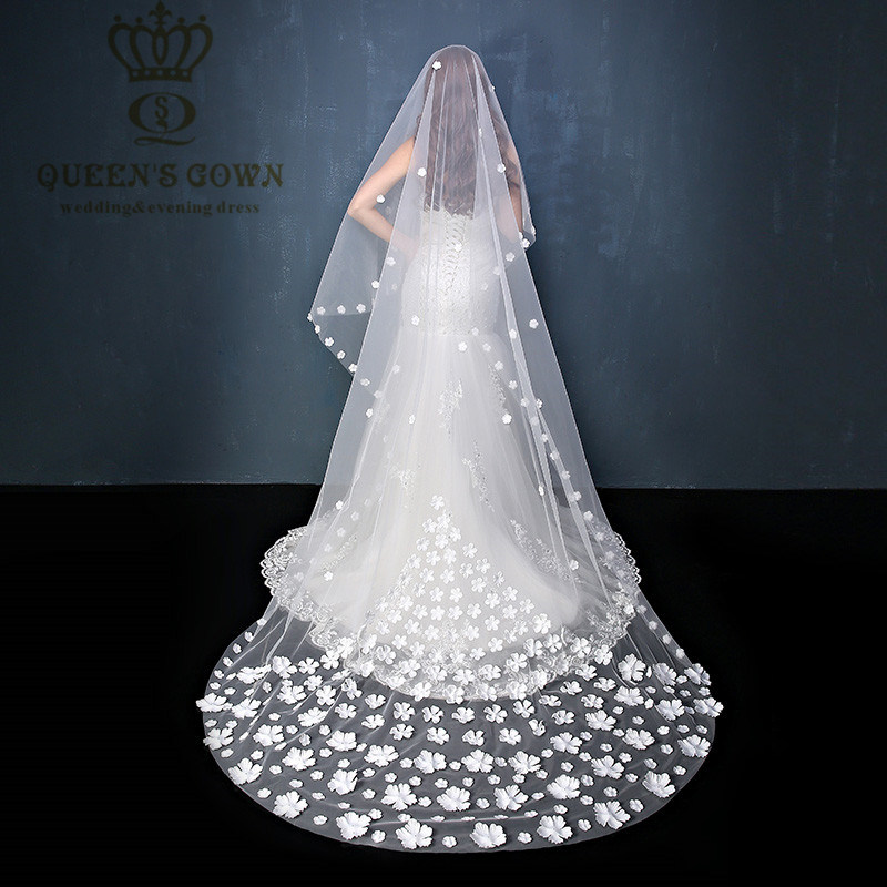 2015single-Layer Soft Net Long Lace Bridal Veil