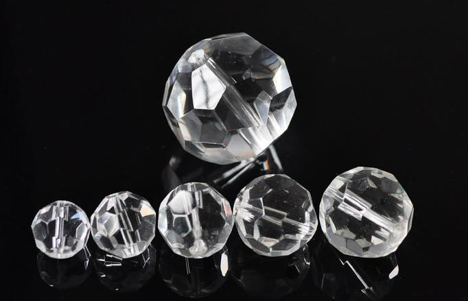 32 Faceted Round Glass Beads