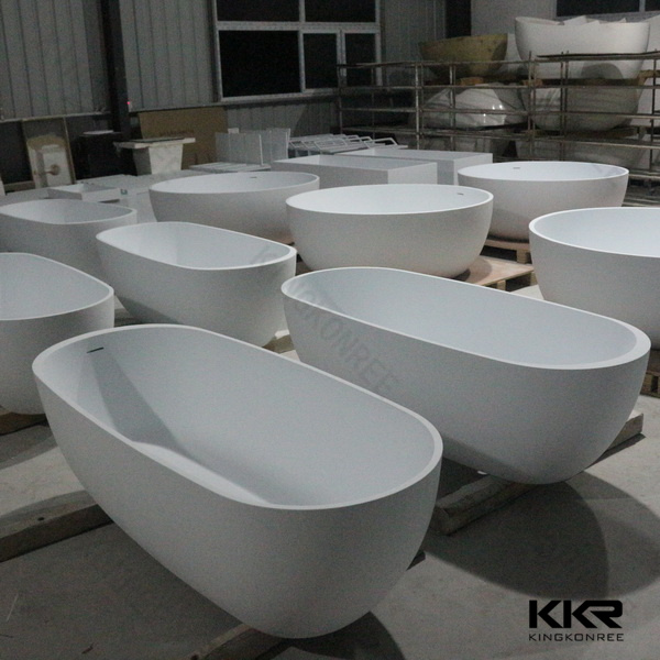 Simple Modern Black Solid Surface Free Standing Bathtub (BT170627)