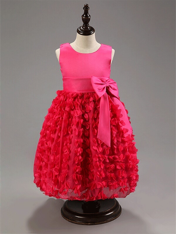 Kd1072 Flower Girl Dress Elegant Children Party Clothing Girls Dress for Wedding Party with Petals Bow Knot Wholesale