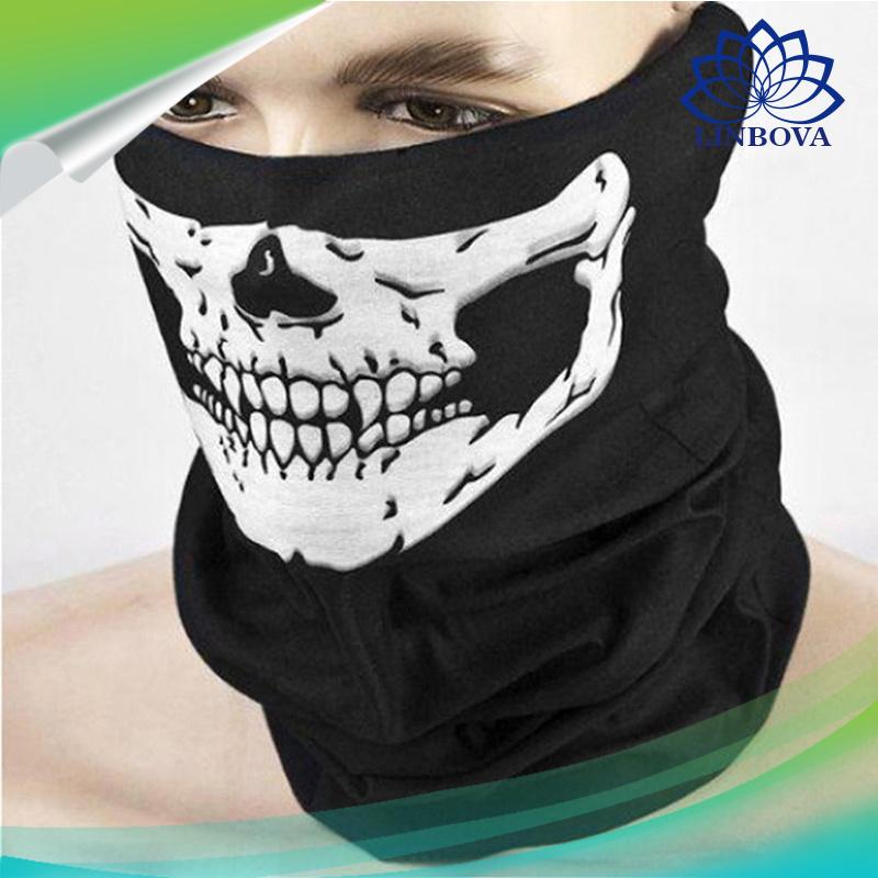 Black Seamless Skull Face Tube Mask Buff Seamless Multi-Function Magic Scarf Halloween Mask