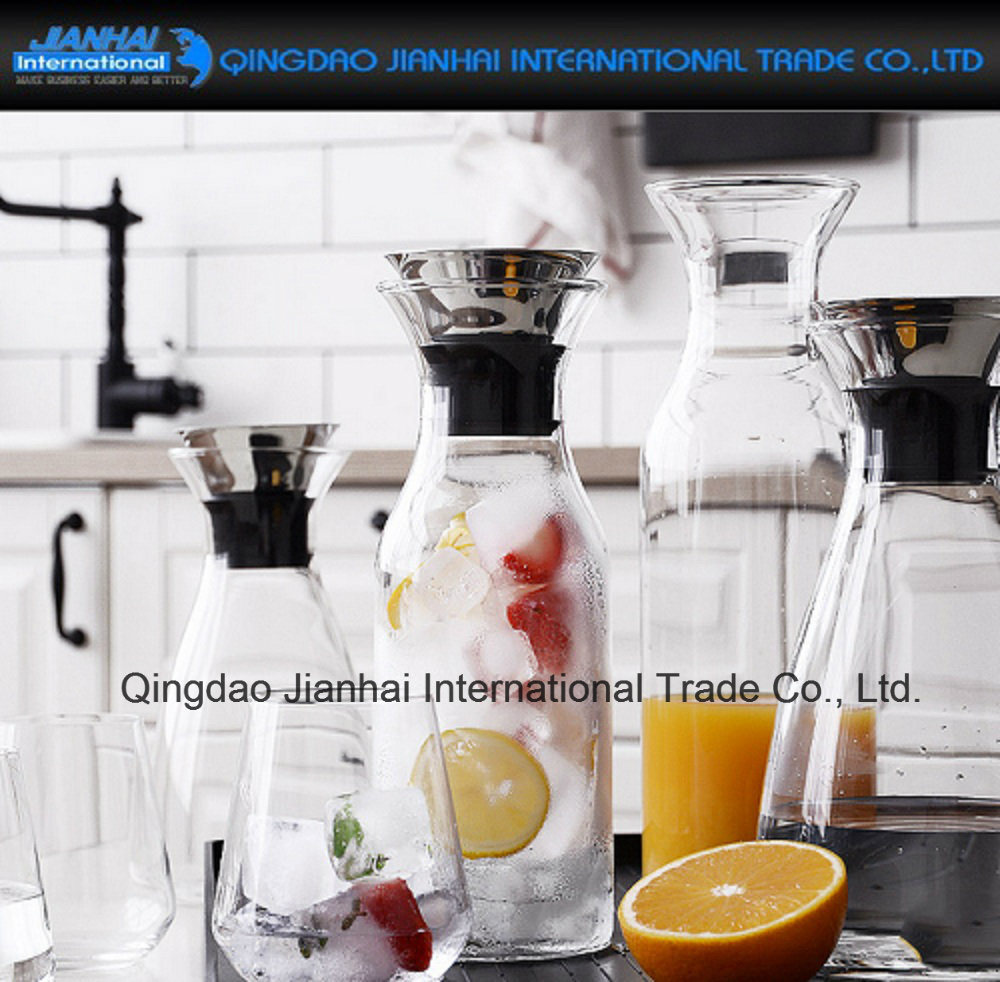 Hot-Sale Drinking Water Glass Jug with Stainless Steel Lid