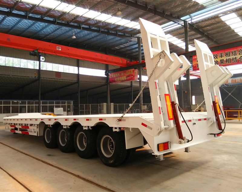 4 Axle Lowbed Semi Trailer, 80 Tons Low Loader Truck Trailer for Sale